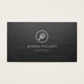 Electric Plug Icon Electrician Dark Brushed Metal Business Card