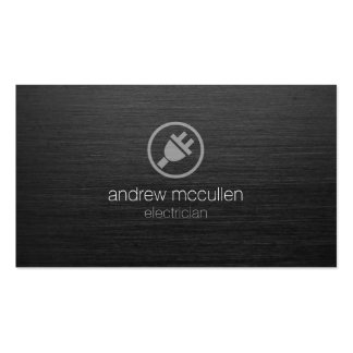 Electric Plug Icon Electrician Dark Brushed Metal Pack Of Standard Business Cards