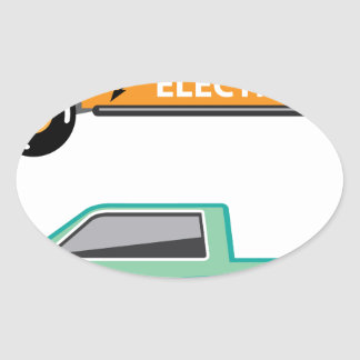 Electric power pickup oval sticker