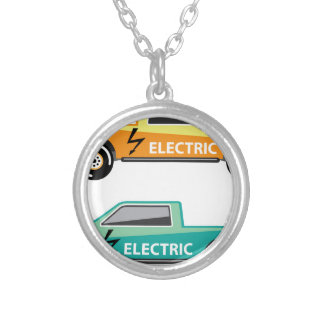 Electric power pickup round pendant necklace