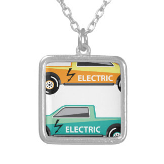 Electric power pickup square pendant necklace