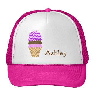 Electric Purple Chevron Ice Cream Cone Trucker Hats