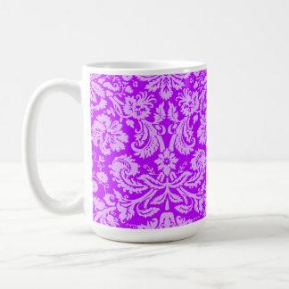 Electric Purple Damask Basic White Mug