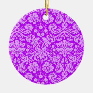 Electric Purple Damask Christmas Tree Ornaments
