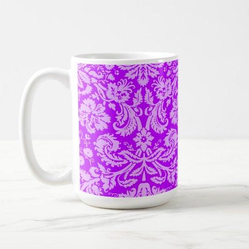 Electric Purple Damask Mugs