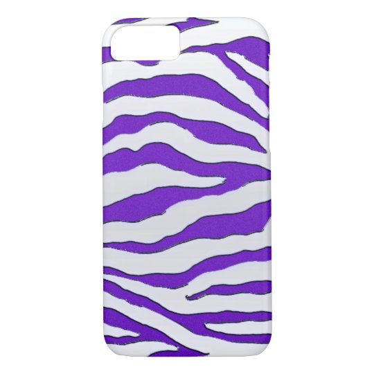 Electric Purple Glitter Zebra iPhone 7 Case