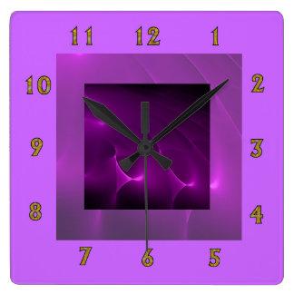 Electric Purple Swirls Wall Clock