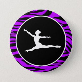 Electric Purple Zebra Stripes; Ballet 7.5 Cm Round Badge
