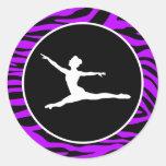 Electric Purple Zebra Stripes; Ballet Round Stickers