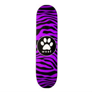 Electric Purple Zebra Stripes; Paw Print 19.7 Cm Skateboard Deck