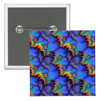 Electric Rainbow Waves Fractal Art Pattern 15 Cm Square Badge