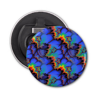 Electric Rainbow Waves Fractal Art Pattern Bottle Opener