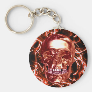 Electric Red Chrome Skull Key Chain