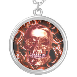 Electric Red Chrome Skull Necklace