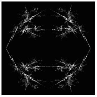 Electric Scratch. Black, White Fractal Art. Photo Cutout
