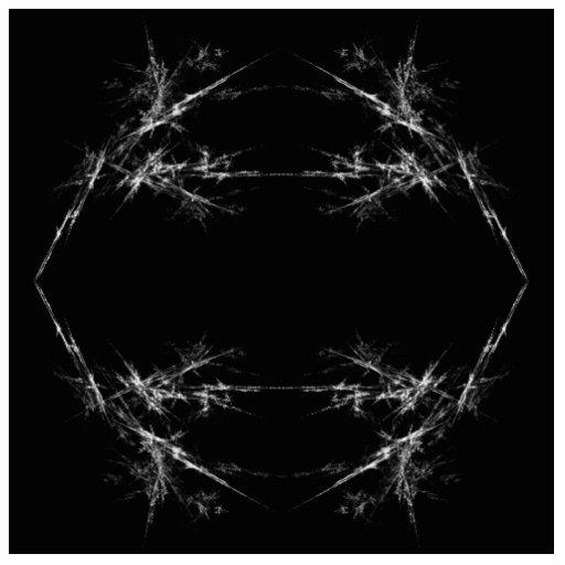 Electric Scratch. Black, White Fractal Art. Cut Out