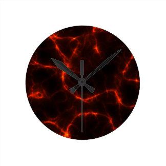 Electric Shock in Crimson Round Clock