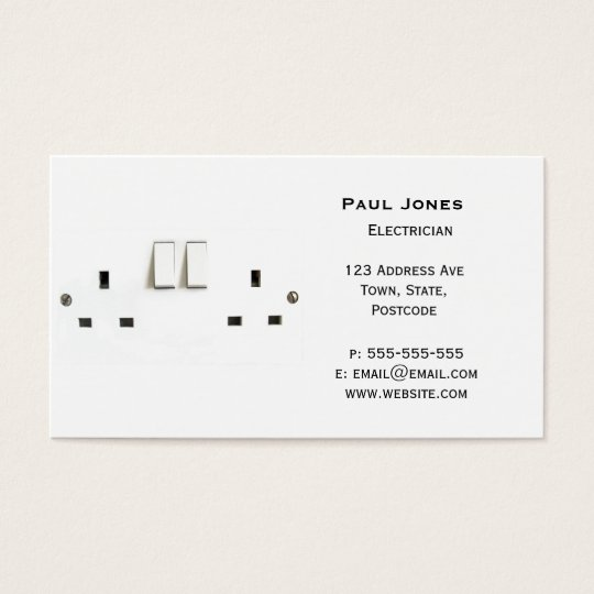 Electric socket from the UK Business Card