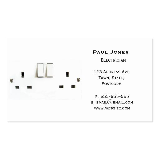 Electric socket from the UK Business Card Template