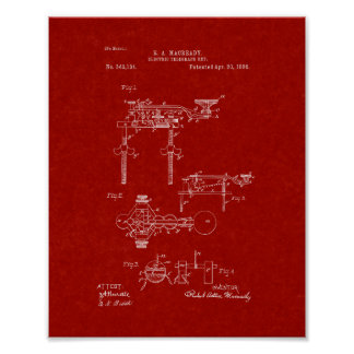Electric Telegraph Key Patent - Burgundy Red Poster