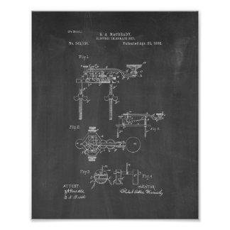 Electric Telegraph Key Patent - Chalkboard Posters