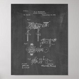 Electric Telegraph Key Patent - Chalkboard Poster