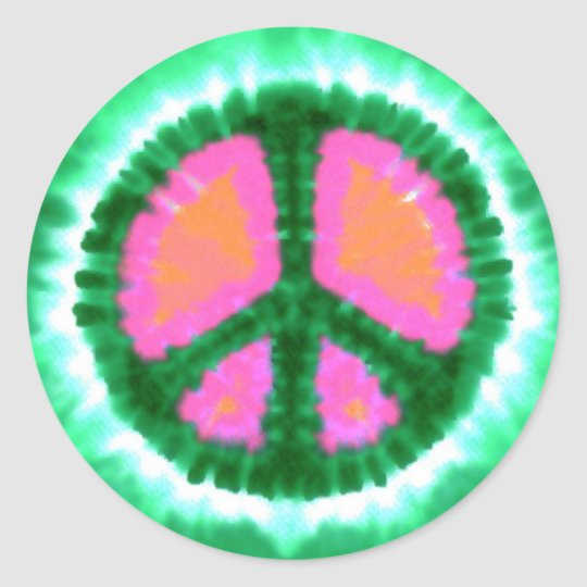 Electric Tie-Dye Peace Sign Classic Round Sticker