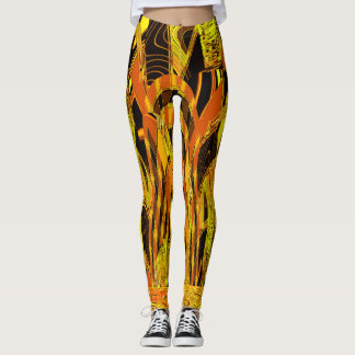 Electric Tiger Abstract Art Leggings