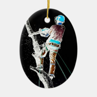 Electric  Tree Surgeon Arborist stihl chainsaw Ceramic Oval Decoration