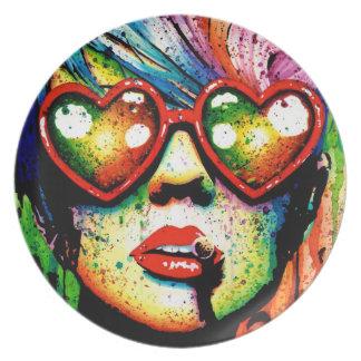 Electric Wasteland Pop Art Portrait Party Plate