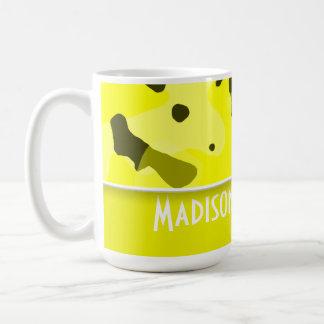 Electric Yellow Camo; Personalized Classic White Coffee Mug