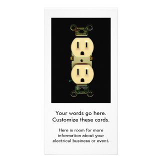 Electrical contractor outlet electricians business picture card