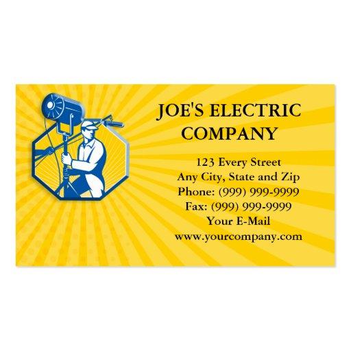 Electrical Lighting Technician Crew Spotlight Business Card