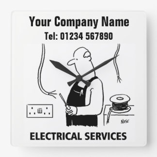 Electrical Services Cartoon Clock