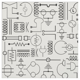 Electrical Symbols Fabric in Black and White
