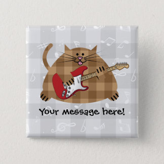 Electricat - Electric Guitar Kitty Musician 15 Cm Square Badge