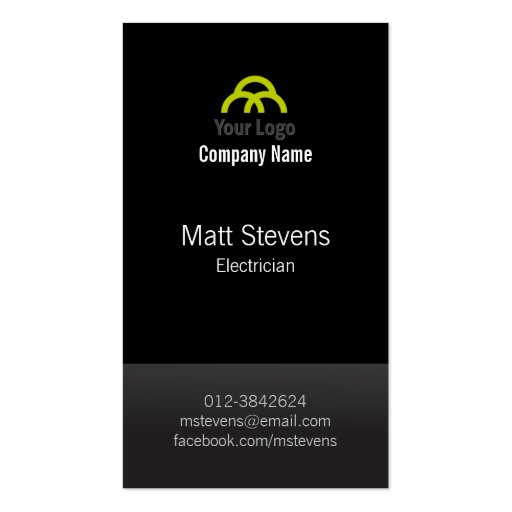 Electrician Business Card Black TwoTone