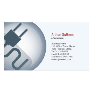 Electrician Business Card Power Cord Icon