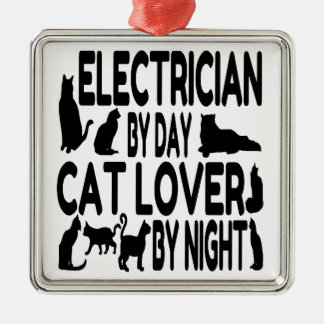 Electrician by Day Cat Lover by Night Silver-Colored Square Decoration