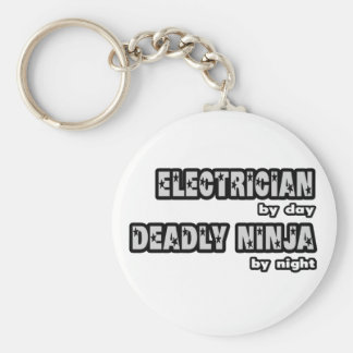 Electrician By Day...Deadly Ninja By Night Basic Round Button Key Ring