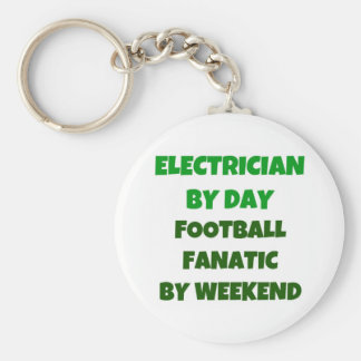 Electrician by Day Football Fanatic by Weekend Basic Round Button Key Ring