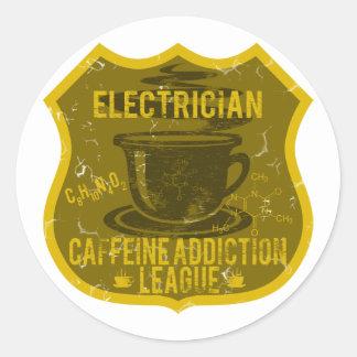 Electrician Caffeine Addiction League Classic Round Sticker