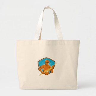 Electrician Construction Worker Retro Jumbo Tote Bag