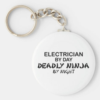Electrician Deadly Ninja by Night Basic Round Button Key Ring