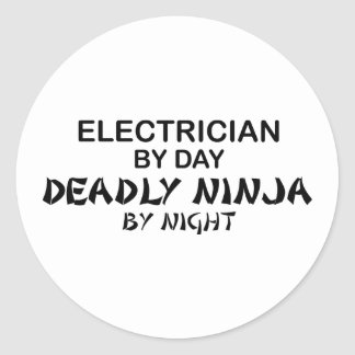 Electrician Deadly Ninja by Night Classic Round Sticker
