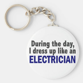 Electrician During The Day Basic Round Button Key Ring