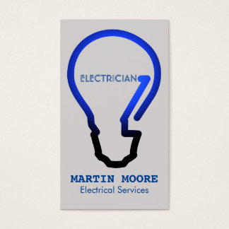 Electrician electical services light bulb blue business card