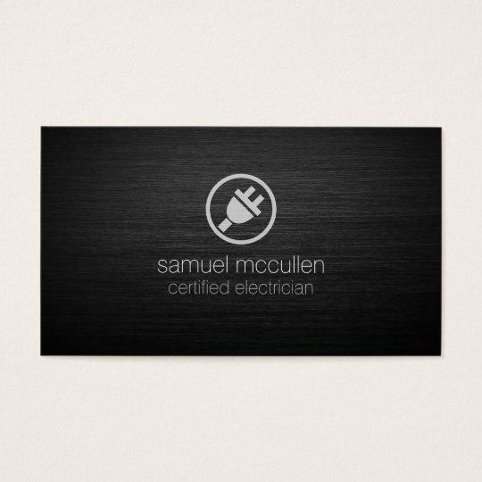 Electrician Electric Plug Icon BrushedMetal Skills Business Card