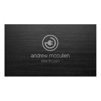 Electrician Electric Plug Icon Dark Brushed Metal Pack Of Standard Business Cards
