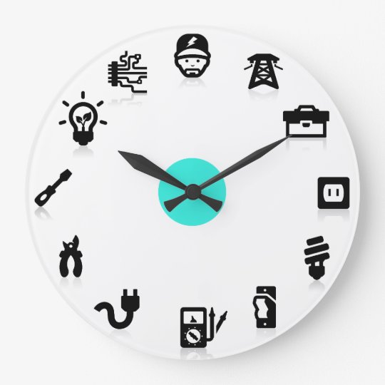 Electrician Electrical Work Icons Wall Clock